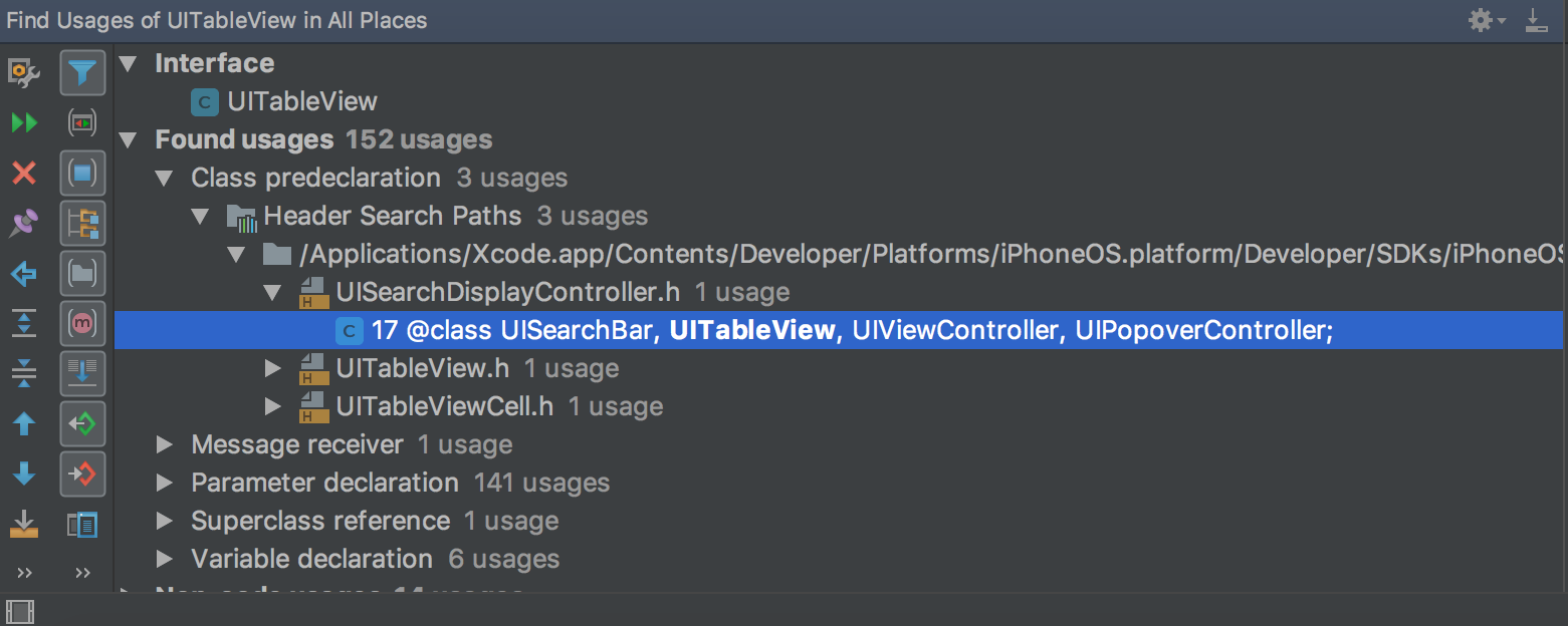 AppCode FindUsagesInProjFiles