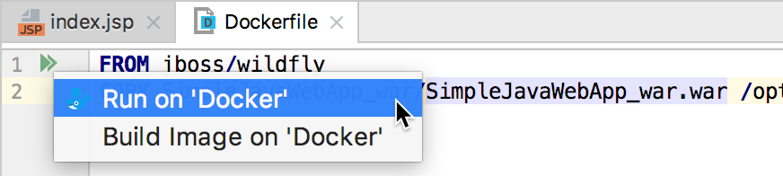 The Run on Docker gutter icon popup