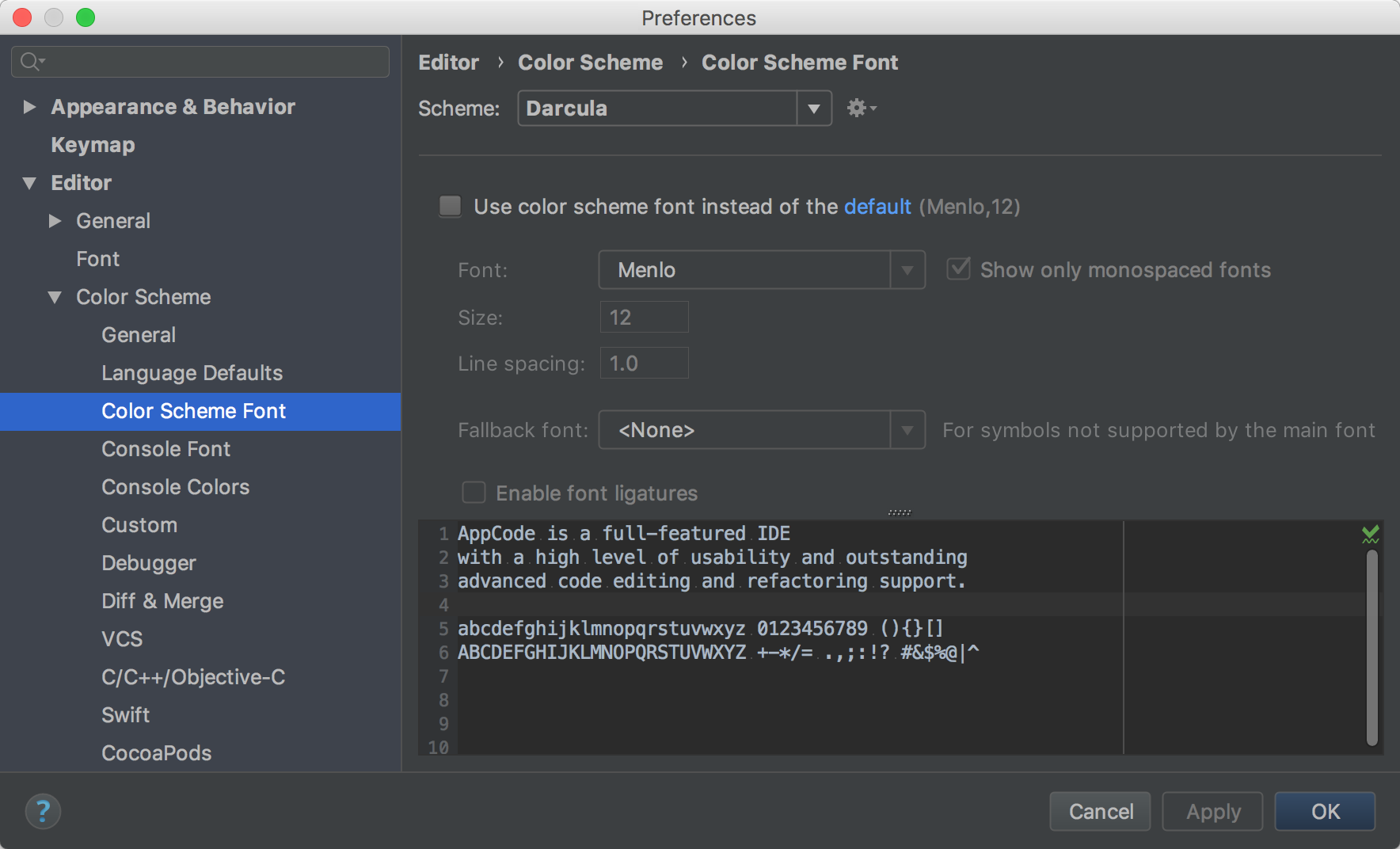 Configuring Colors And Fonts Help Appcode