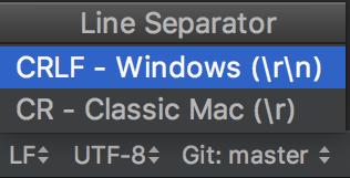 Change line separator on the Status bar
