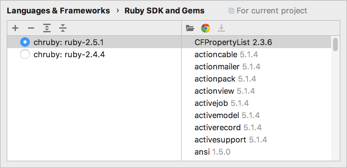 Ruby SDK and Gems page for chruby
