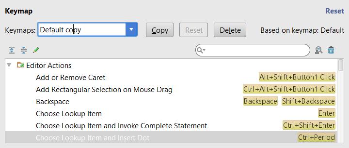 Configuring keyboard shortcut: keymap copied