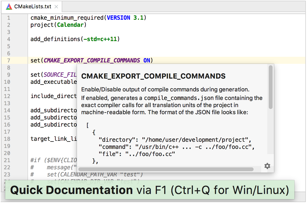 cmake highlighted and quick documentation for cmake