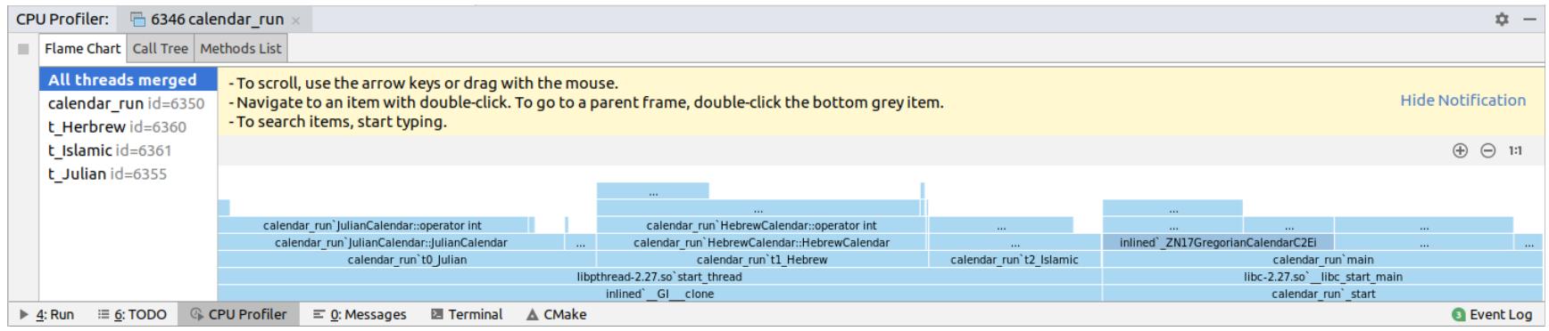 profiler tool window on linux