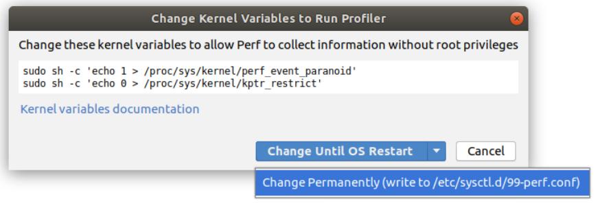adjust linux kernel variables for the profiler