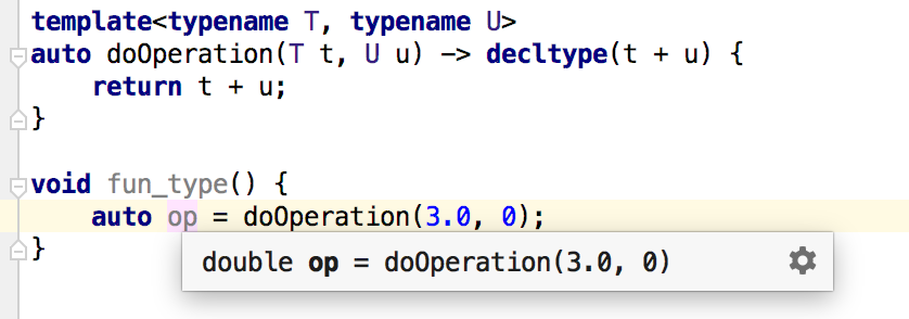 c++ inferred type in quick documentatio pop-up