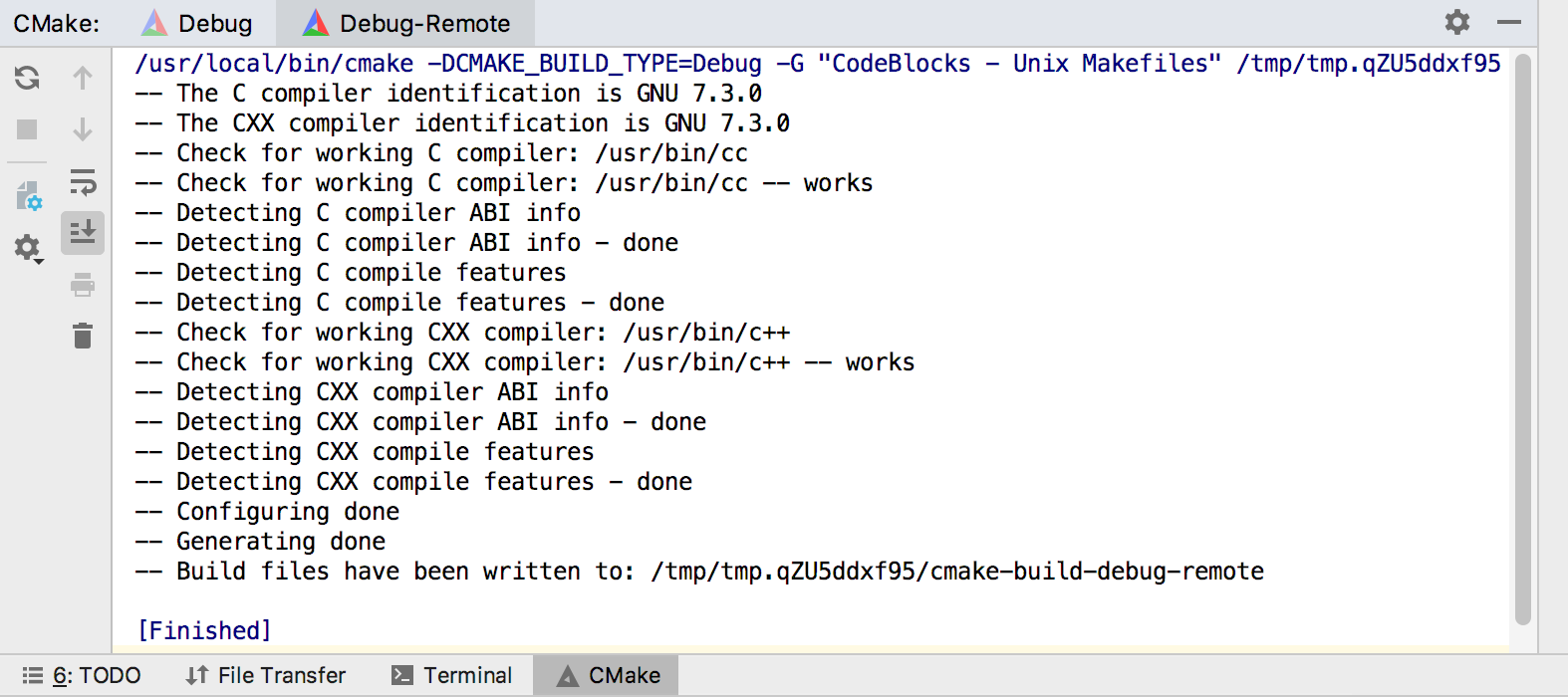 reloading cmake project with remote toolchain
