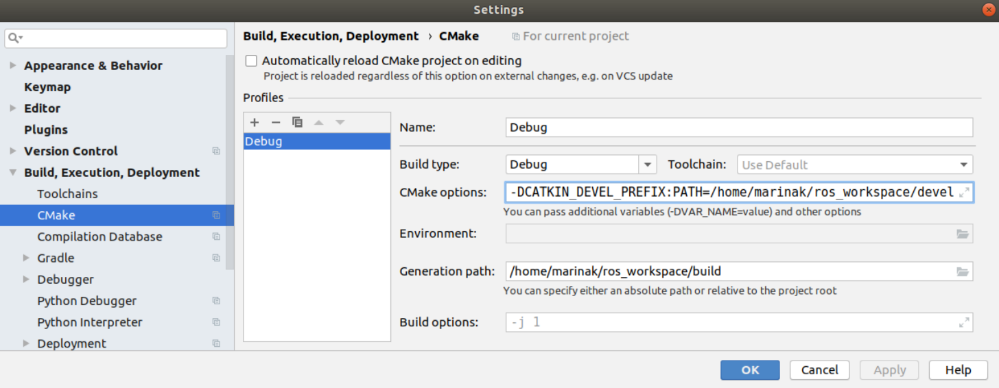 cmake settings for ros projects