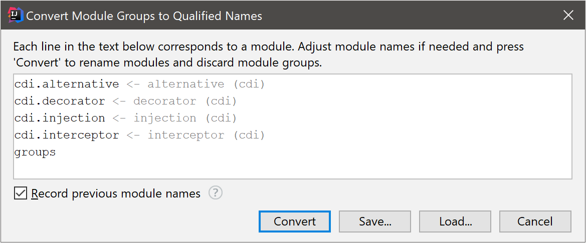 Convert Module Groups to Qualified Names dialog