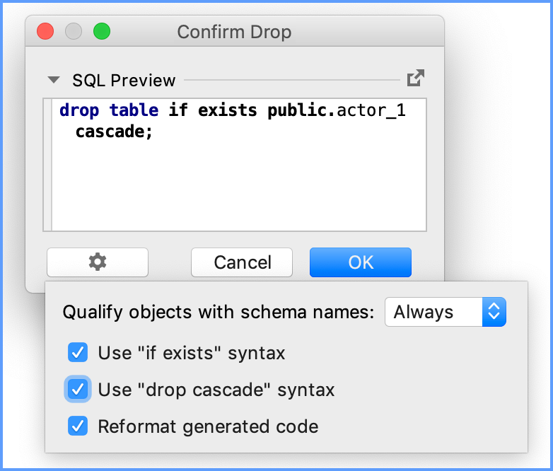 The Confirm Drop dialog