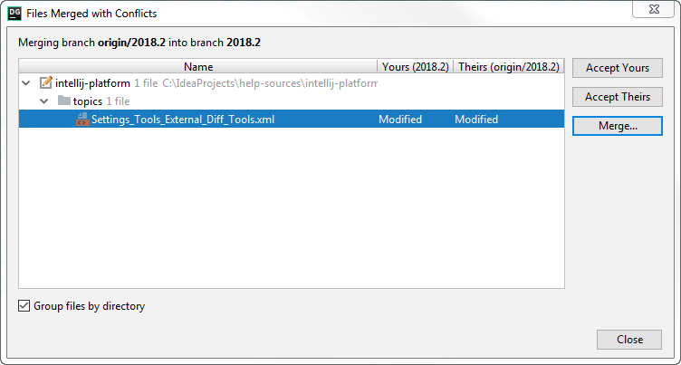 db files merged with conflicts dialog