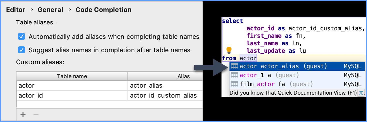 Generate aliases