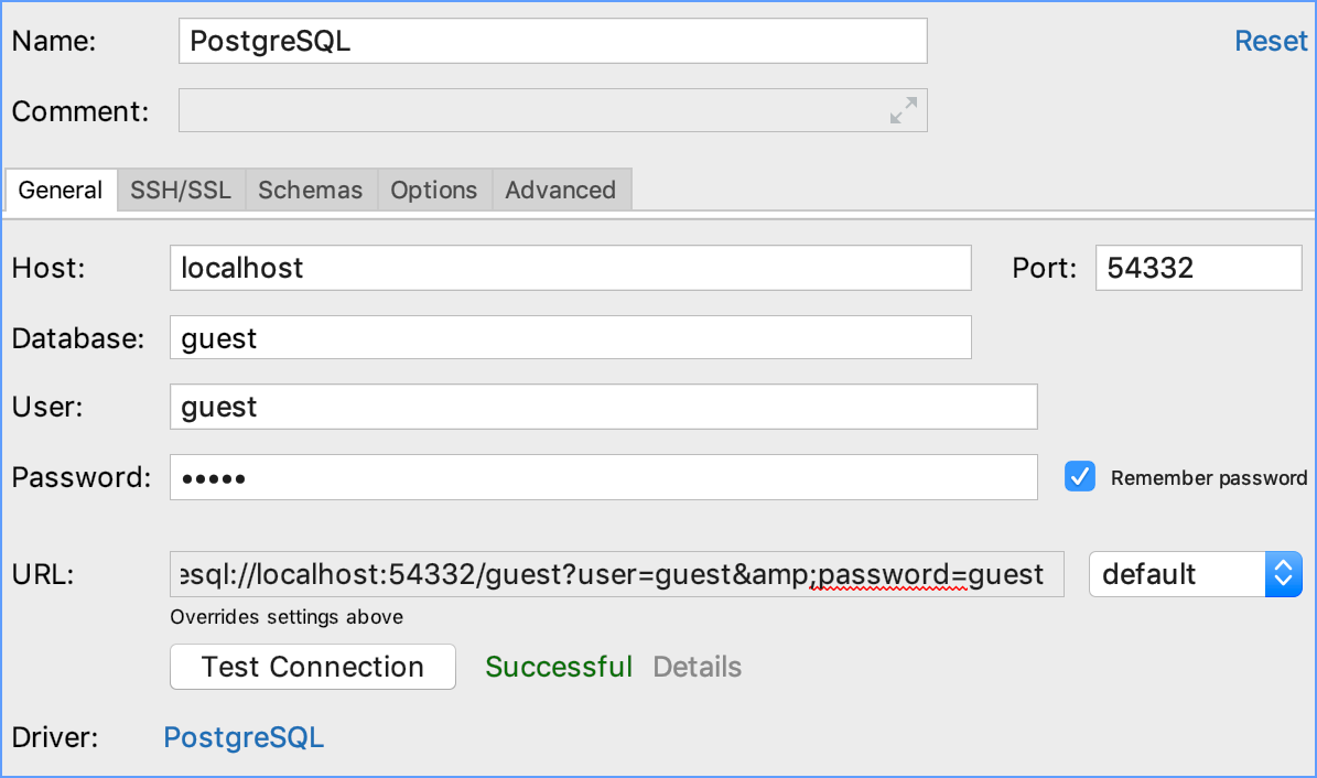 Integration with PostgreSQL