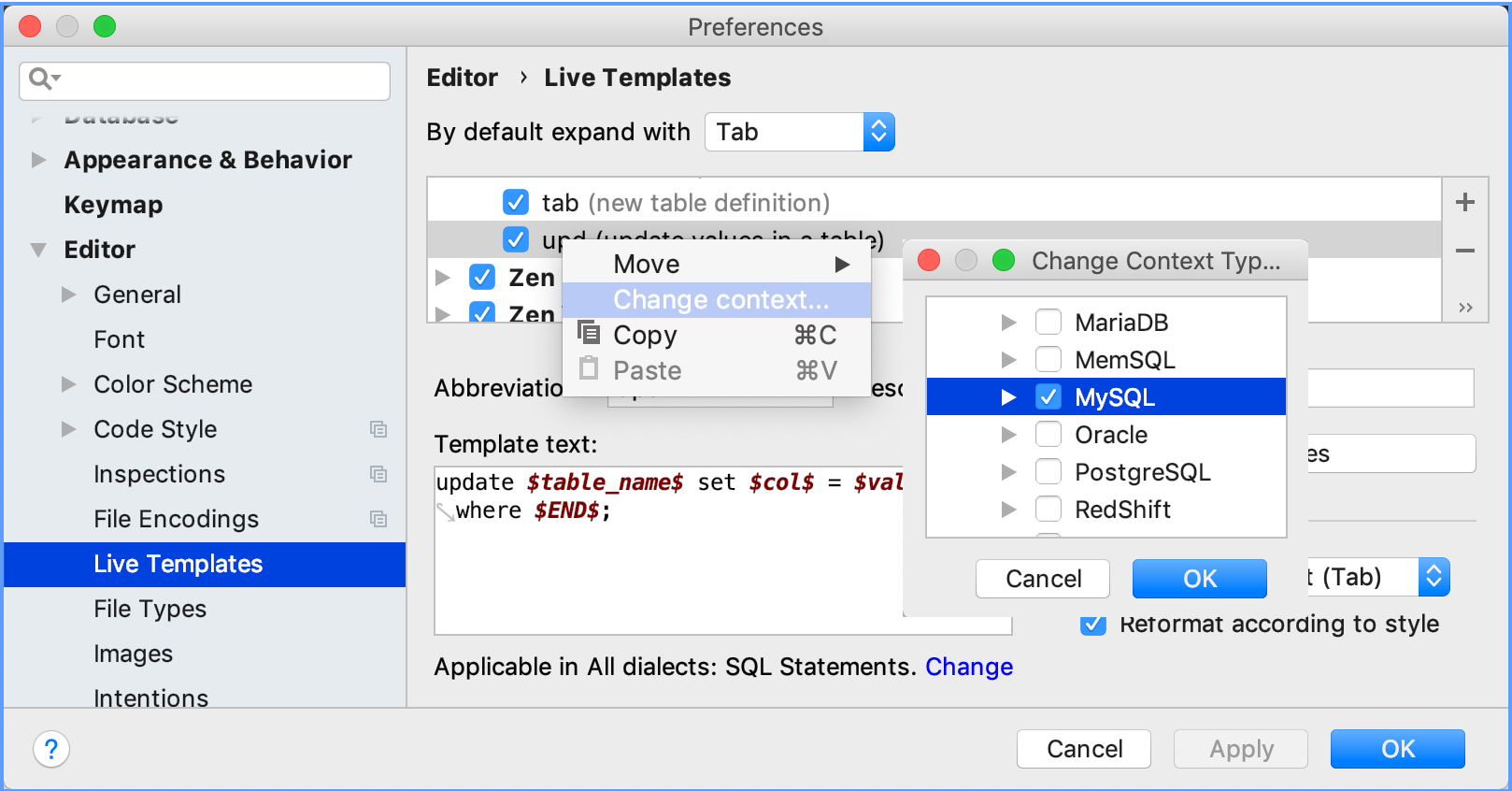 Set an SQL dialect for a live template