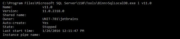Run SqllocalDB.exe i v11.0 command