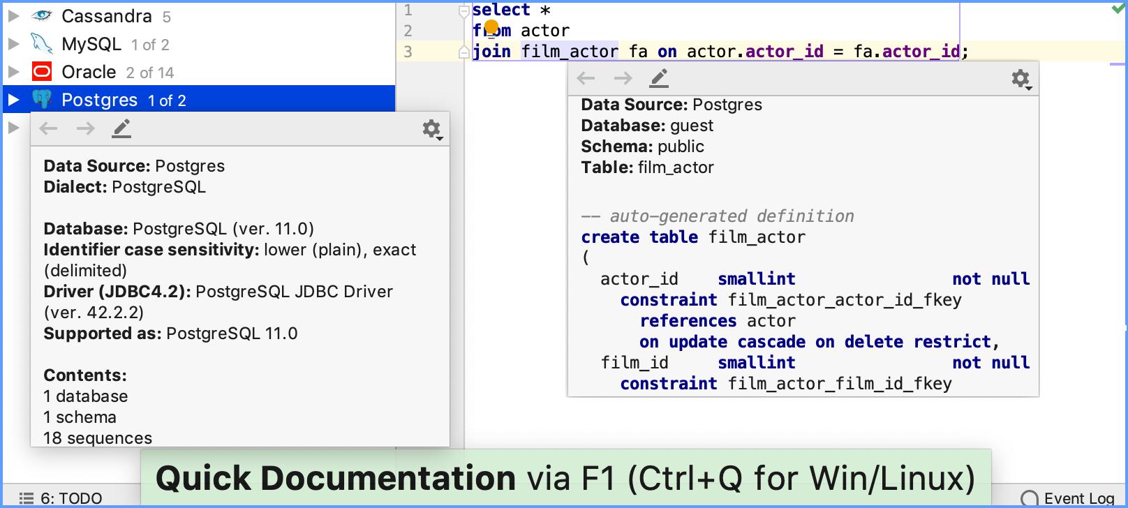Database Tree Help Datagrip Diagram Symbols Besides Automotive Electrical On View Quick Documentation