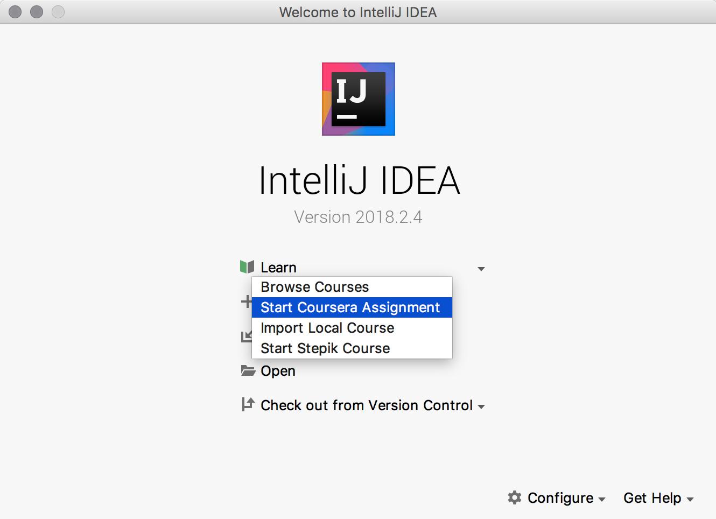 Coursera assignments in IntelliJ IDEA