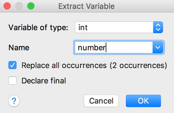 Extract Variable Help Intellij Idea