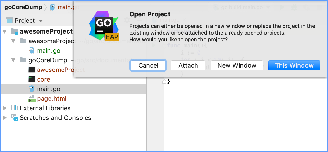 Attach a directory to an already-opened project
