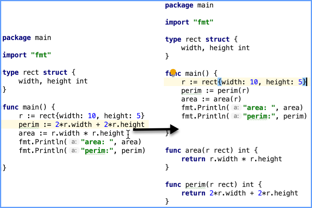 Example of the Extract a method refactoring