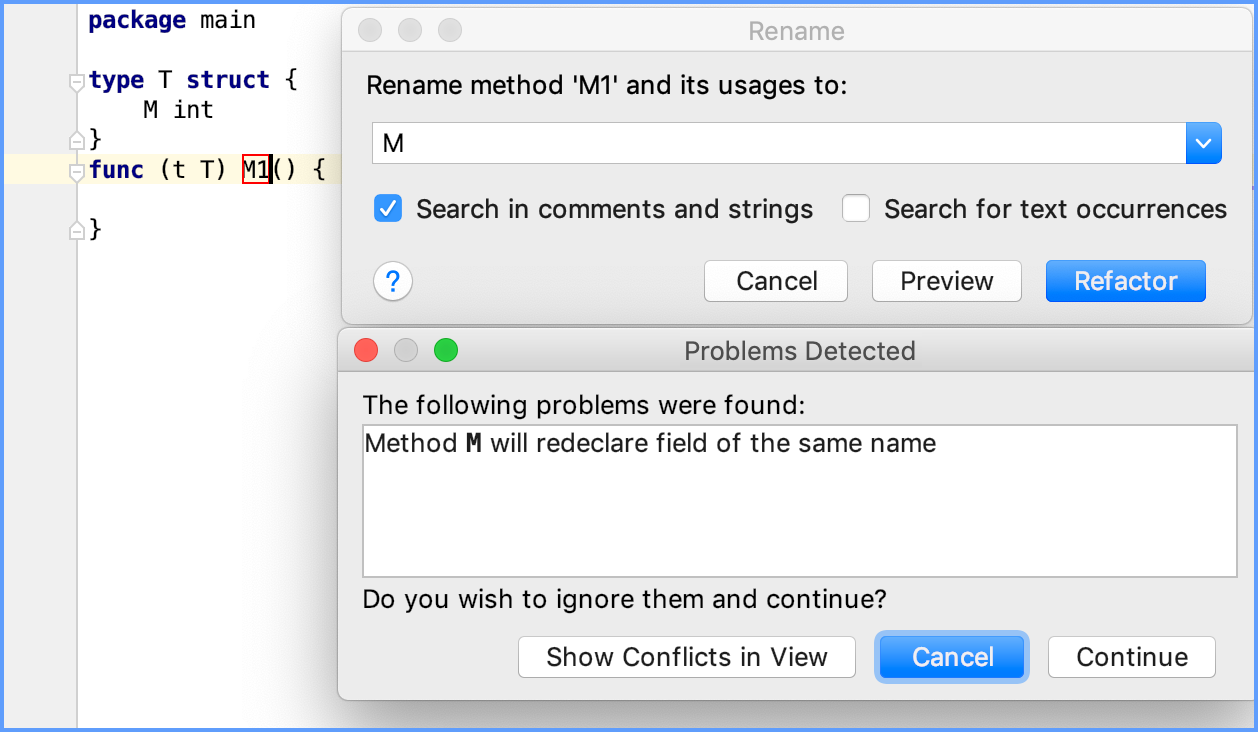 The refactoring dialog