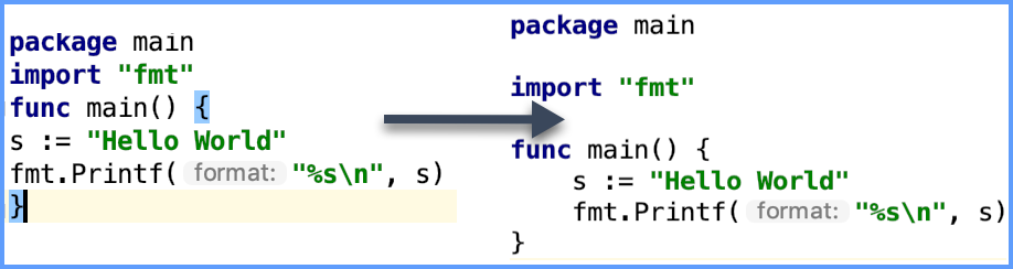 Example of the go fmt tool