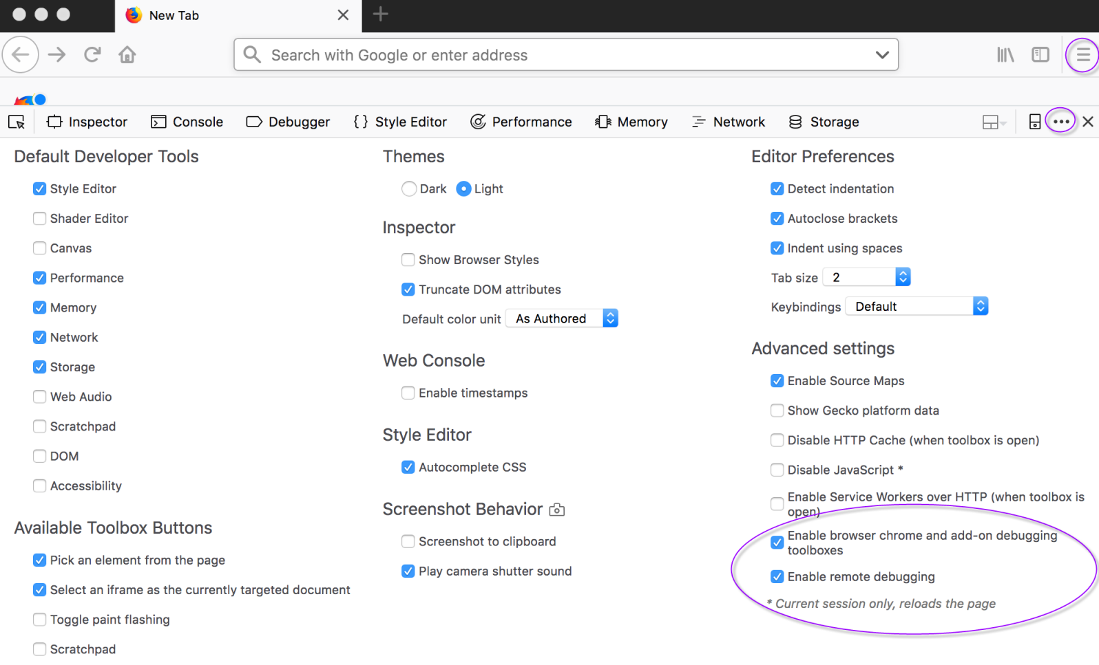 Selecting the Enable remote debugging and Enable browser chrome add-on debugging checkboxes
