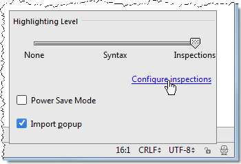 pe configureInspections