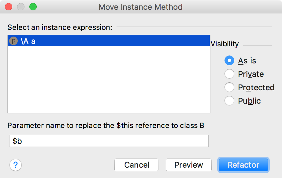 Move Instance Method Dialog