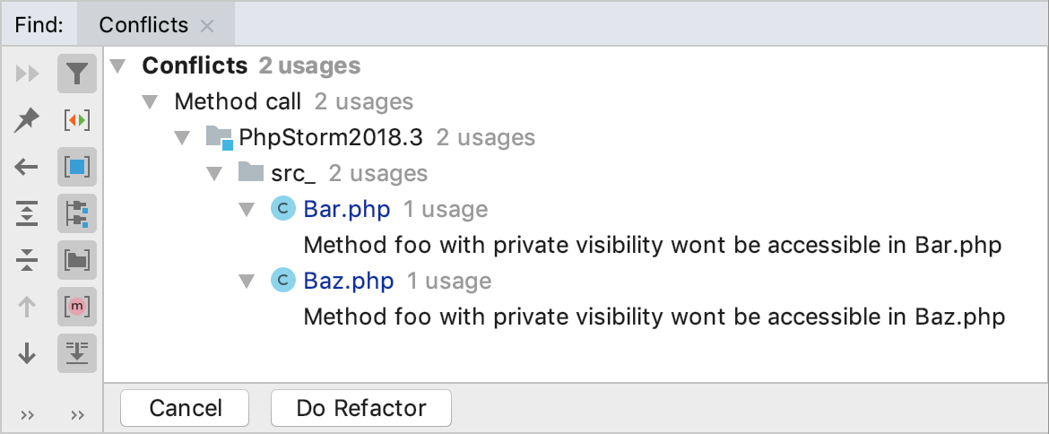 Refactoring conflicts tool window