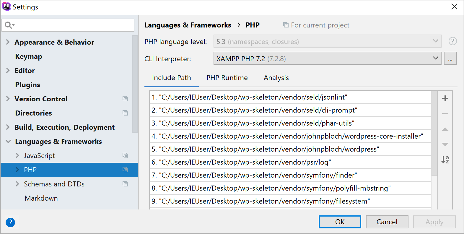 ps xampp interpreter selected
