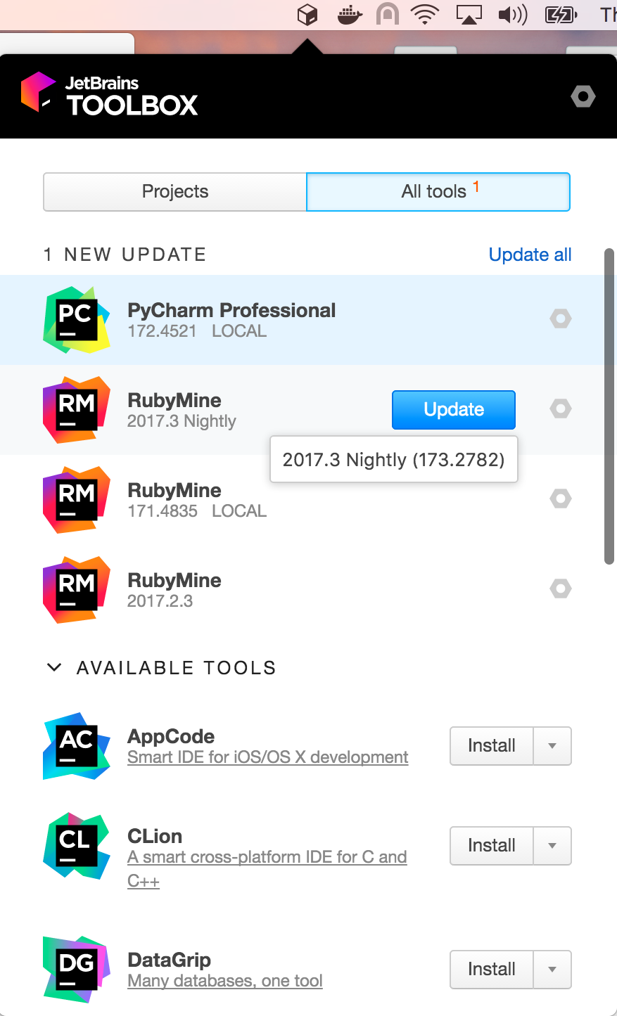 PyCharm in the Toolbox app