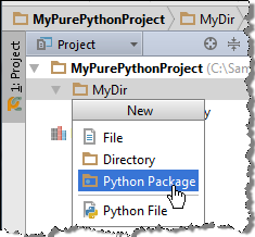 python CreatePackageMenu