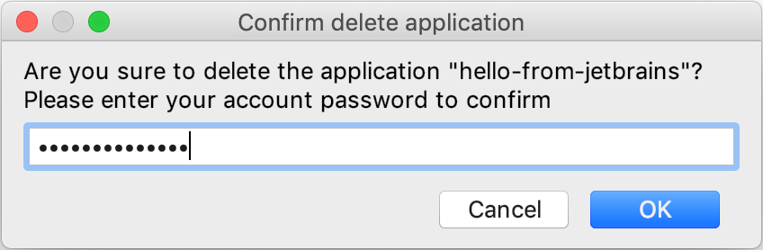 Confirm delete application