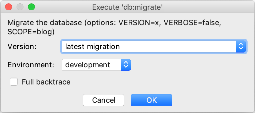 Execute db:migrate
