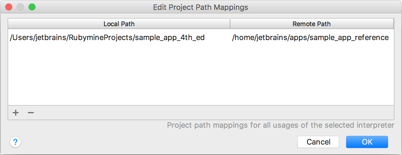rm remote attach path mappings