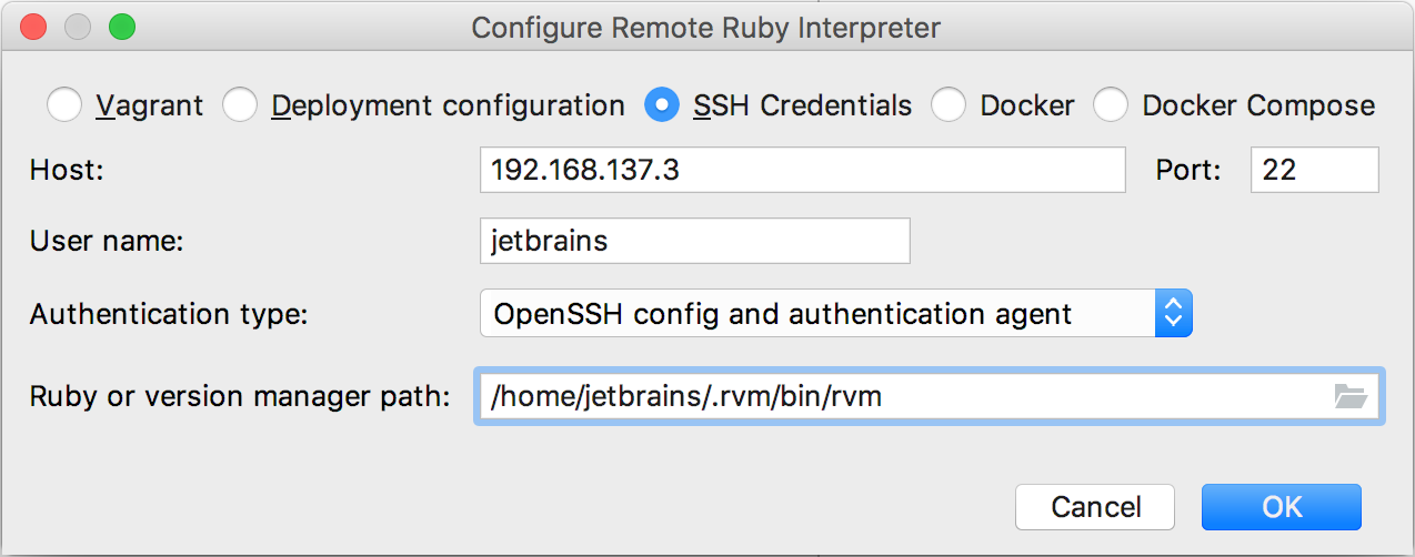 rm remote attach ssh credentials agent