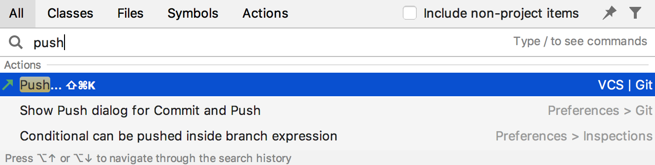 Search for push action
