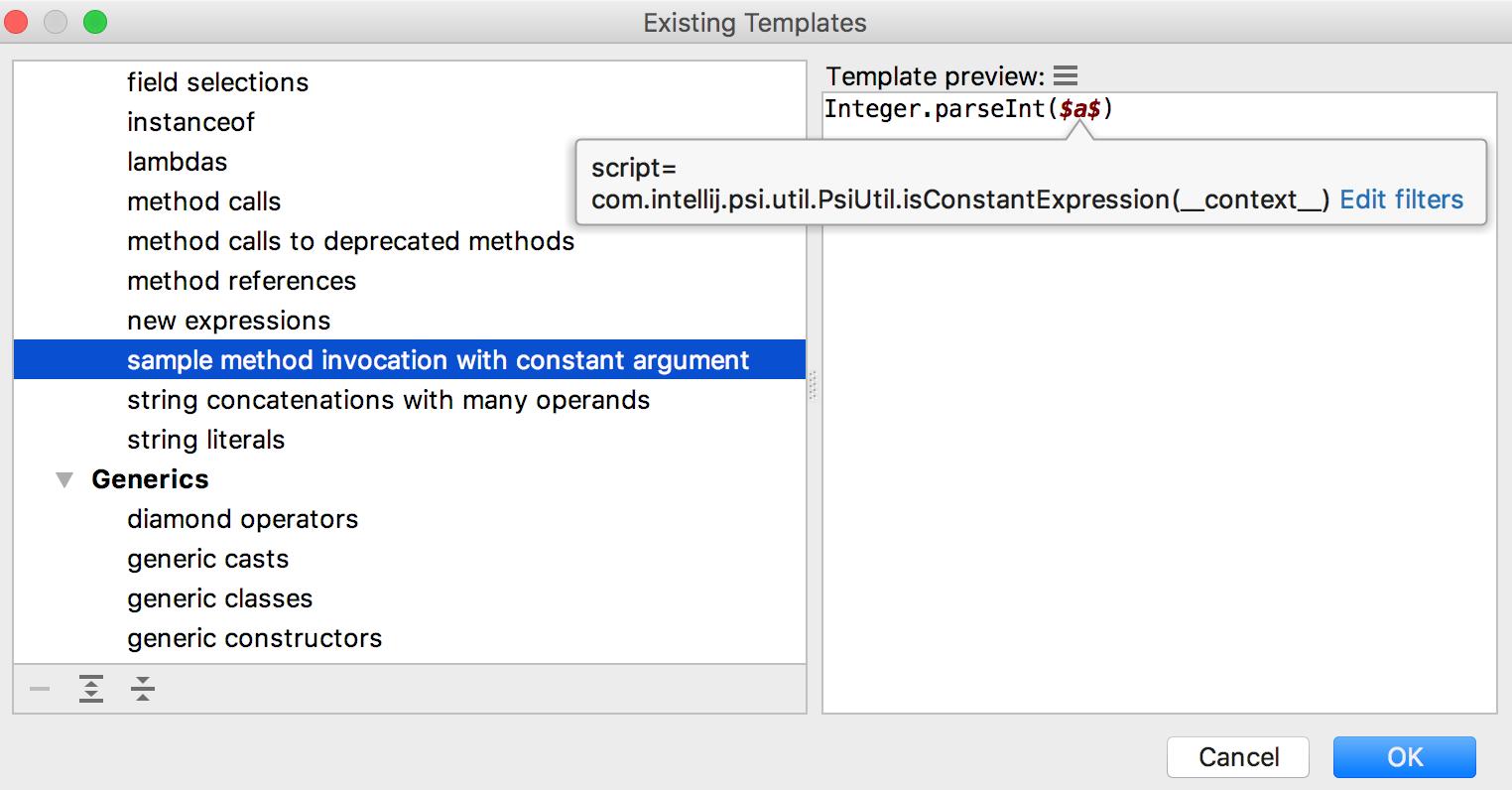search templates filters and script constraints help intellij idea