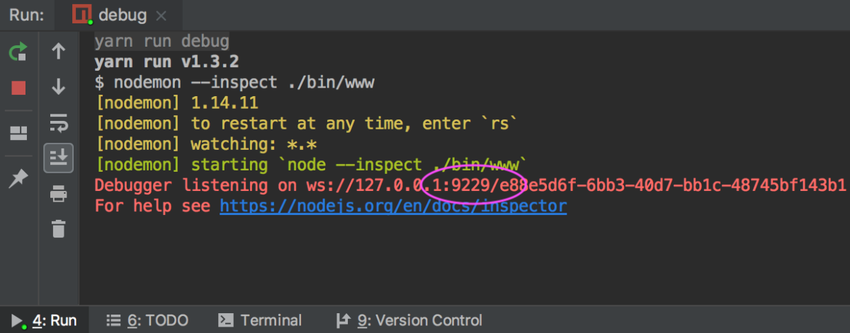 Node.js application with  nodemon running in the debug mode: check the port