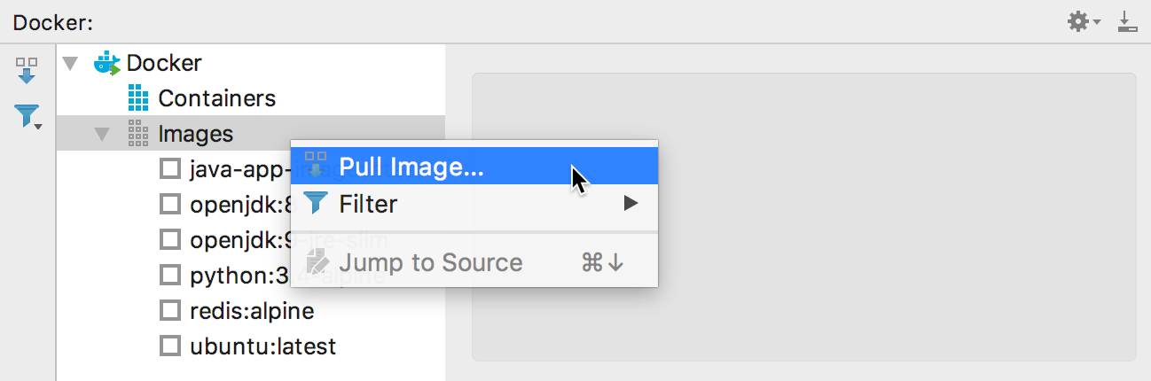 The Pull Image context menu item