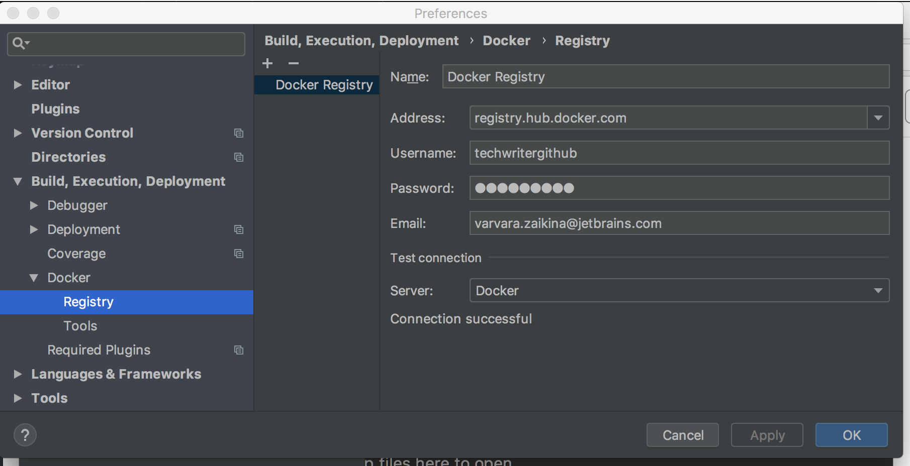 The Docker Registry dialog