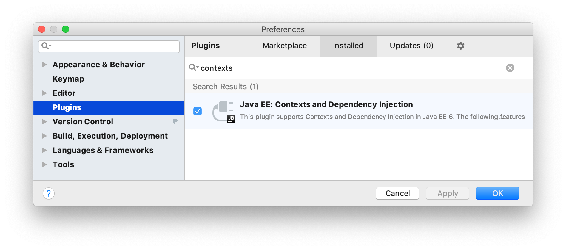 CDI plugin is enabled in the list of plugins