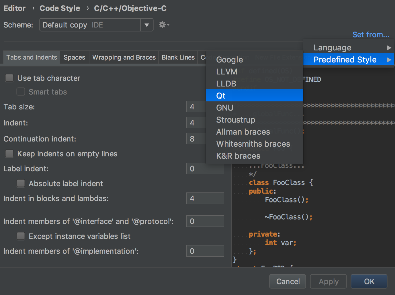 Using code style settings from predefined guidelines