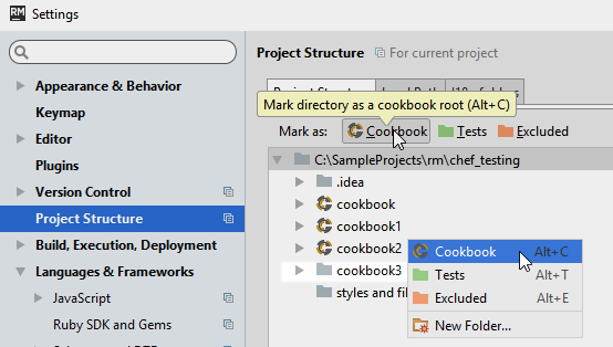 chef mark directory as project structure