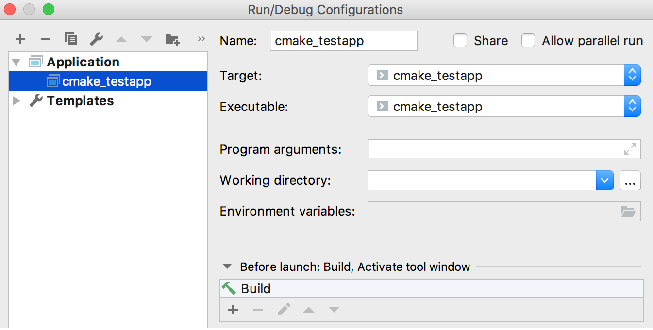 Run/Debug Configurations