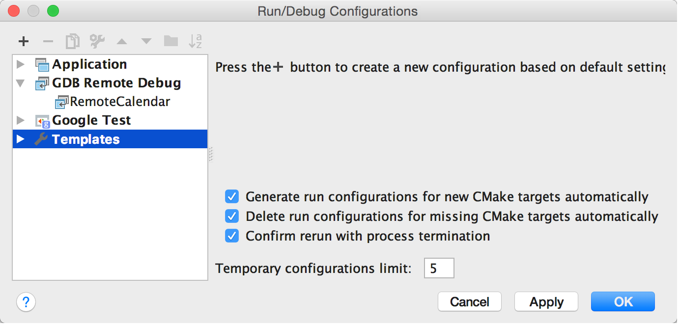 Changing Run/debug defaults