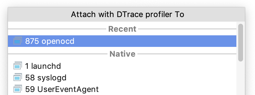 attach profiler to a process
