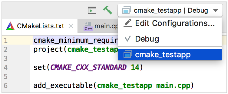default configuration for a new cmake project