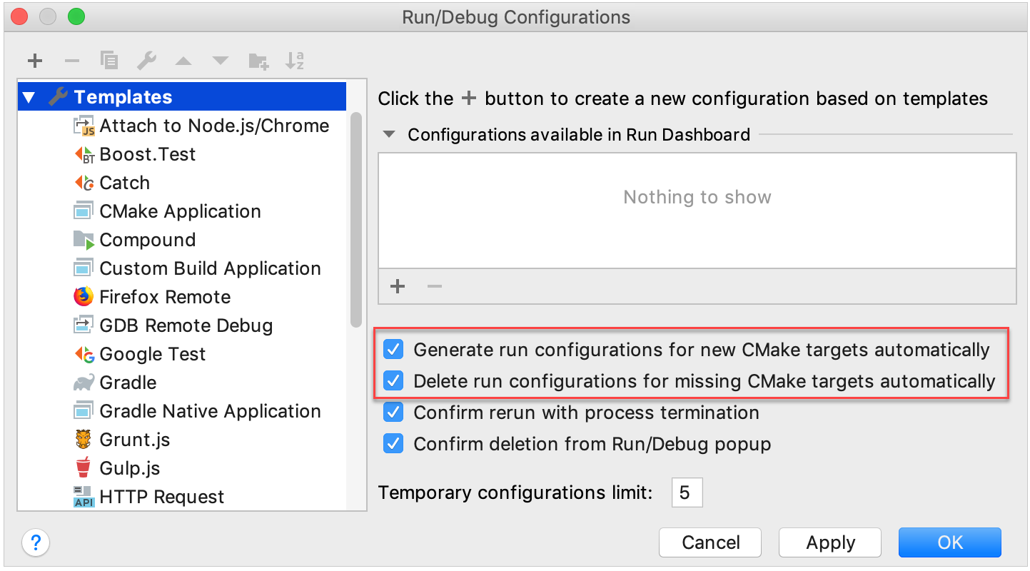 create or delete configurations automatically